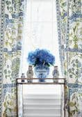 Thibaut Indian Panel Linen in Coral and Blue
